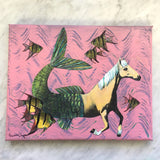 "Weird Horse Art - Original Horse Mermaid Art - 8x10"" Collage Painting By Pergamo Paper Goods"