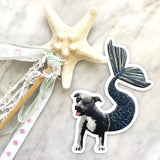Pit Bull Mermaid Vinyl Sticker - Pit Bull Stickers for Dog Lovers! By Pergamo Paper Goods- Vintage inspired collage art for animal lovers