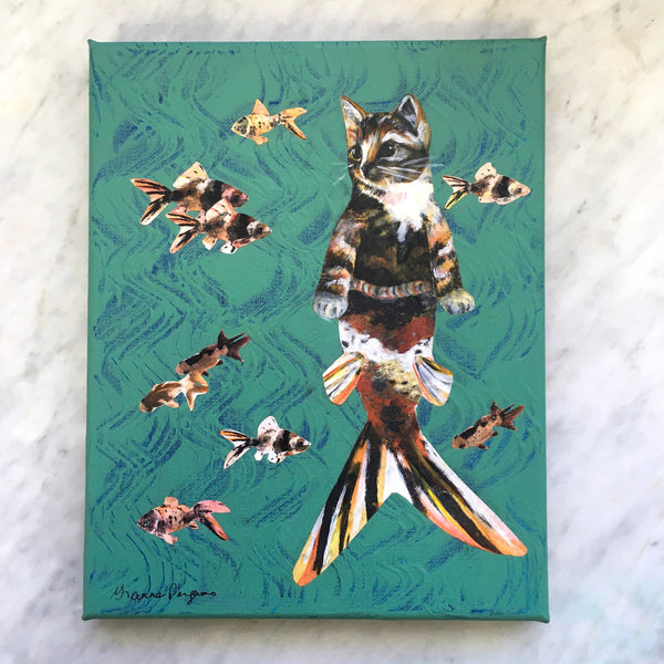 "Weird Cat Art - Original Cat Mermaid Art - 8x10"" Collage Painting By Pergamo Paper Goods"
