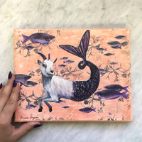 "Capricorn Art - Original Goat Mermaid Art - 8x10"" Collage Painting"