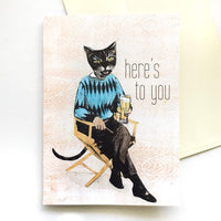 "Greeting Cards for Cat Lovers - ""Here's to You"" Beer Cat Card by Pergamo Paper Goods"