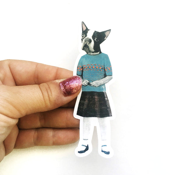 Boston Terrier Girl Sticker