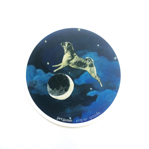 Vinyl Stickers for Pug Lovers - Pug Over the Moon Sticker www.pergamopapergoods.com