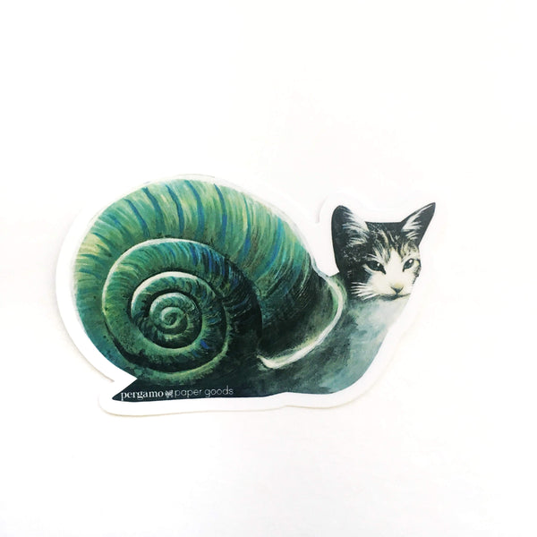 Weird Vinyl Stickers - Snail Cat Illustrated Sticker www.pergamopapergoods.com