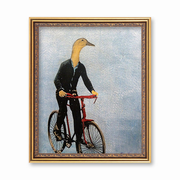 Awesome Dressed Up Animals - Bike Duck Art Print - Retro Animal Art by Pergamo Paper Goods