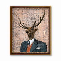 Retro Art for Animal Lovers-  Art for Men - Dapper Buck Art Print by Pergamo Paper Goods