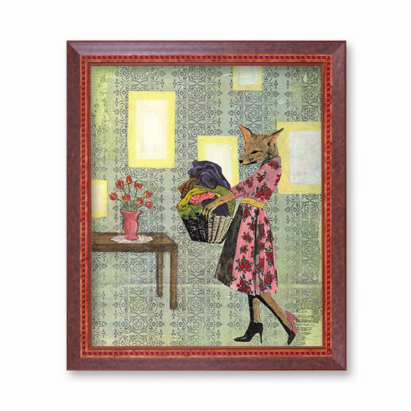 Retro Laundry Fox Art Print