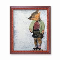 Retro Art for Skating Lovers - Vintage Roller Skate Fox Art Print by Pergamo Paper Goods
