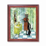 Bathroom Cat Art Print - Bathroom Art for Cat Lovers - Weird Cat Art by Pergamo Paper Goods