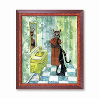 Bathroom Cat Art Print