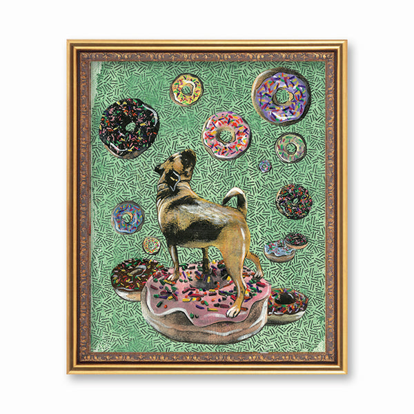 Weird Wall Art for Pug Lovers - Mixed Media - Donut Pug Art Print by Pergamo Paper Goods