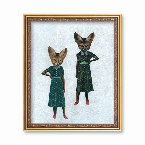 Animal Art for Your Retro Home - Sassy Lady Foxes Art Print - Fox Art by Pergamo Paper Goods