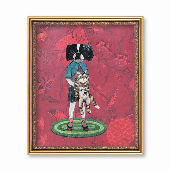 Animal Art for Vintage Lovers - Japanese Chin Art Print - Fun Dog Art by Pergamo Paper Goods