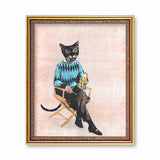 Gifts for Cat Lovers - Vintage Beer Cat Art Print - Funny Cat Gifts by Pergamo Paper Goods