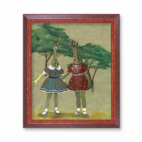 Giraffe Girls Art Print