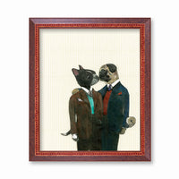 Dog Lovers Art Print - Boston Terrier and Pug