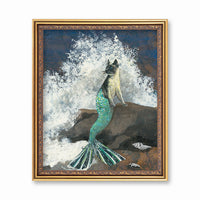 Art for Cat Lovers and Gifts for Cat Moms - Mermaid Cat Art Print www.pergamopapergoods.com