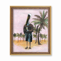 Vintage Inspired Animal Art - Pelican Art Print - Weird Florida Art by Pergamo Paper Goods