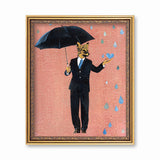 Framed art of a fox holding an umbrella and wearing a suit. Rain drops are falling on a pink background. The illustration is fun and playful. Mixed Media Retro Animal Art - Anthropomorphic - Dapper Fox Art Print by Pergamo Paper Goods
