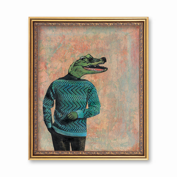 "Alligator Art Print - 8x10"" Animal Art - Mixed Media Florida Artist Pergamo Paper Goods"