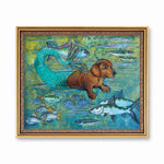 Weird Art for Dachshund Owners - Mermaid Dachshund Art Print by Pergamo Paper Goods