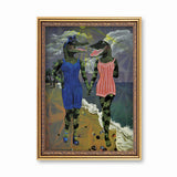 Lesbian Art - Animal Art - Lady Alligators at the Beach Art Print by Pergamo Paper Goods
