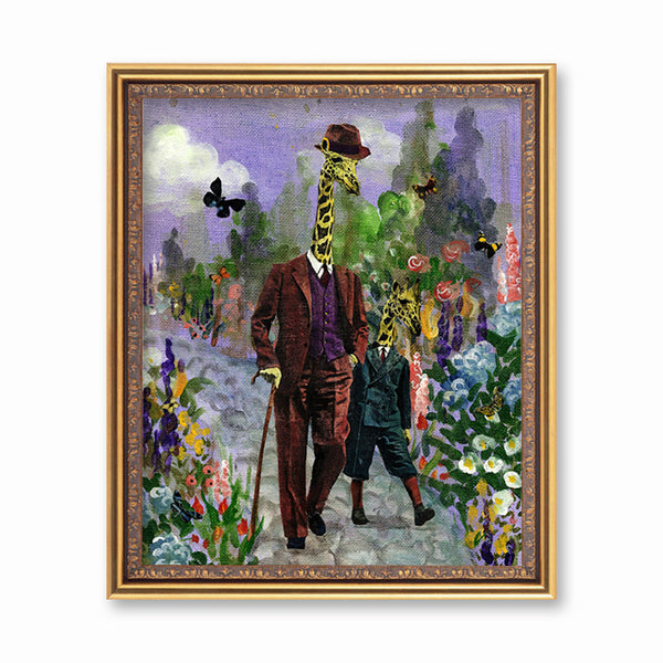 Giraffe and Son Art Print