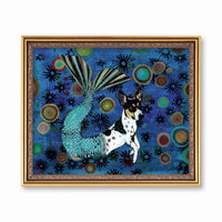 Mermaid Dog Art Print - Vintage Mermaid Art - Fun Rat Terrier Gift by Pergamo Paper Goods