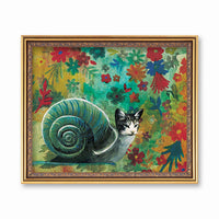 Weird Art for Animal Lovers -Mixed Media Painting- Snail Cat Art Print www.pergamopapergoods.com
