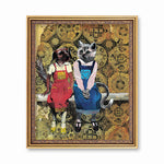 Dog and Cat Friends Art Print - Vintage Art for Animal Lovers by Pergamo Paper Goods