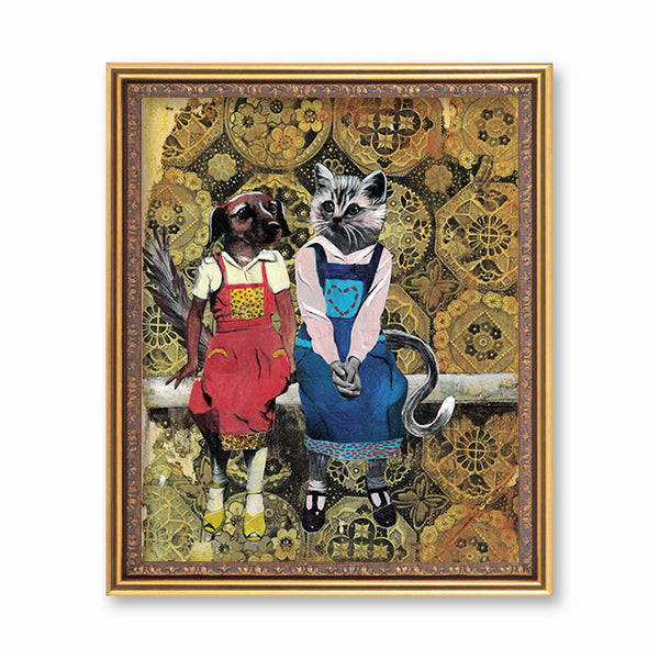 Dog and Cat Friends Art Print