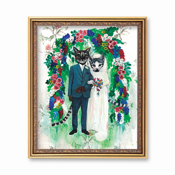 Wedding Cats Art Print - Cat Lover Wedding Gift - Unique Cat Art by Pergamo Paper Goods