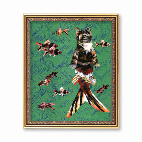 Orange Cat Mermaid Art Print - Weird Cat Art for Vintage Lovers by Pergamo Paper Goods, Vintage Inspired Collage Art for Animal Lovers