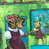 "Cheetah with Doll 8x10"" Collage Painting"