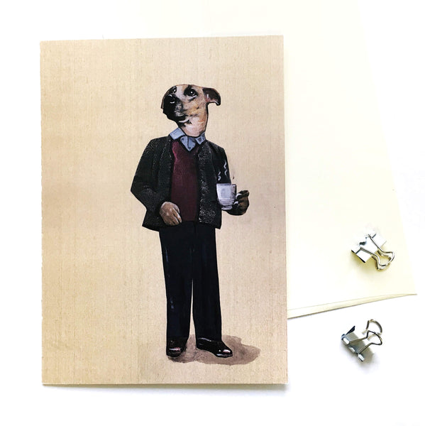 Illustrated Greeting Cards for Dog Lovers - Coffee Dog Greeting Card by Pergamo Paper Goods