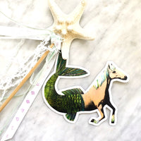 Horse Mermaid Vinyl Stickers for Animal Lovers and Horse Lovers By Pergamo Paper Goods. Vintage Inspired Collage Art for Animal Lovers.