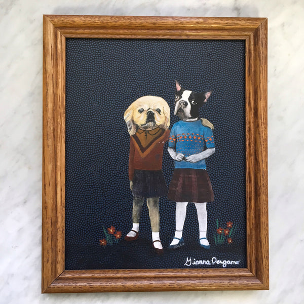 Vintage Inspired Girl Dog Friends Collage Painting - Weird Dog Art By Pergamo Paper Goods