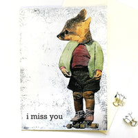 Artistic Greeting Cards for Animal Lovers - I Miss You Fox Card by Pergamo Paper Goods