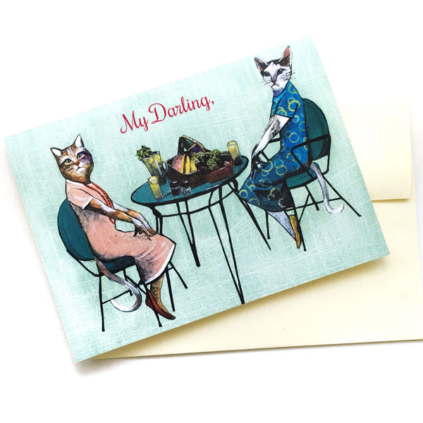 "Lesbian Cards for Cat Lovers - ""My Darling"" Picnic Cats Card by Pergamo Paper Goods"