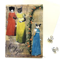 "Retro Cat Cards - Illustrated Cards- ""Hey Girl"" Sassy Cats Card by Pergamo Paper Goods"