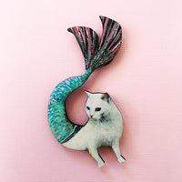 Housewarming Gifts for Cat Lovers - Handmade Retro Mermaid Cat Magnet www.pergamopapergoods.com