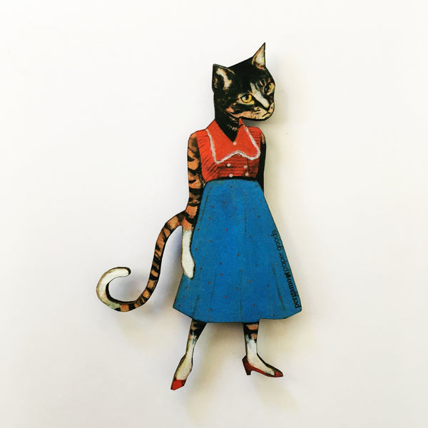 Vintage Inspired Animal Gifts for Cat Lovers - Retro Cat Lady Magnet www.pergamopapergoods.com