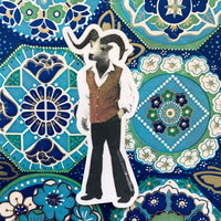 Groovy Sheep Dude Vinyl Sticker - Retro Stickers for Animal Lovers - Pergamo Paper Goods - Vintage Inspired Collage Art for Animal Lovers