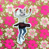 Ice Skate Pig Vinyl Sticker