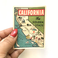 Vintage California Vinyl Stickers - California Map - The Golden State - Pergamo Paper Goods
