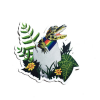 Gay Pride Alligator Vinyl Sticker - LGBTQ Stickers for Animal Lovers - Pergamo Paper Goods - Vintage Inspired Collage Art for Animal Lovers