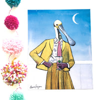 Weird Animal Art for Vintage Lovers - Florida Spoonbill Art Print  - Pergamo Paper Goods