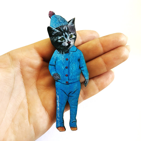 Laser Cut Magnets for Cat Lovers - Handmade Retro Kitten Magnet www.pergamopapergoods.com