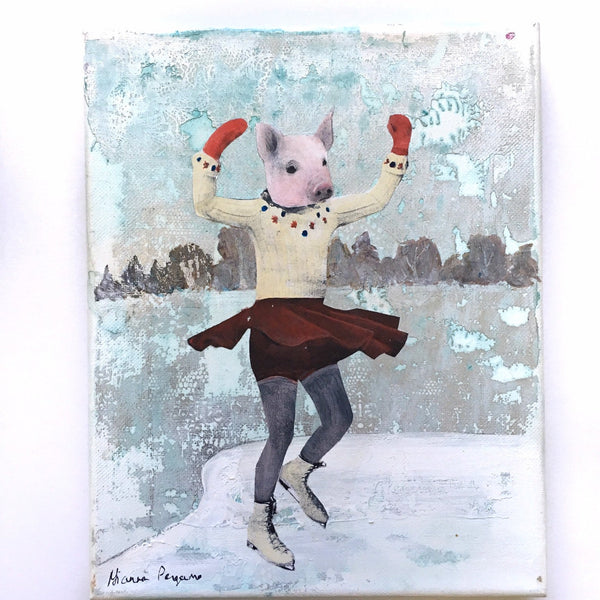 "Ice Skating PIg 8x10"" Collage Painting"
