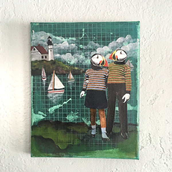"Puffins 8x10"" Collage Painting"